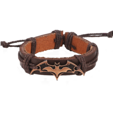 Batman Gold and Brown Adjustable Leather Bracelet, Je-BLB-G ()