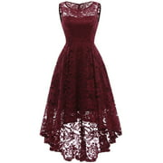 Market In The Box Women's Lace Dress Vintage Floral Sleeveless Hi-Lo Formal Party Dress Asymmetrical Cocktail Formal Swing Dress