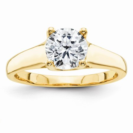 1.25 Ct Certified Diamond - Certified 1.25 Ct. Round Diamond Engagement Ring (H/SI1) in 14k Yellow Gold
