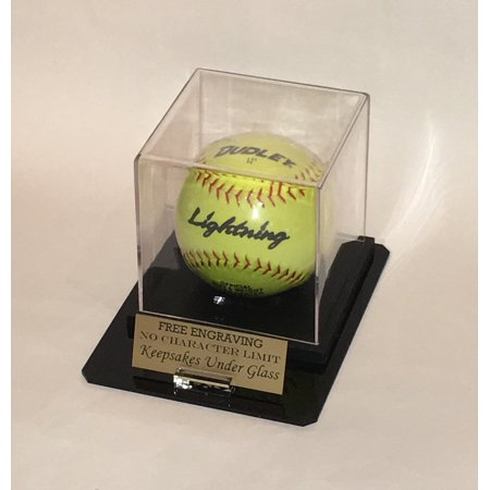 """Softball Personalized Acrylic Display Case for 11"""" or 12"""" Ball with Octagon Base Custom Ball and Nameplate Stand"""