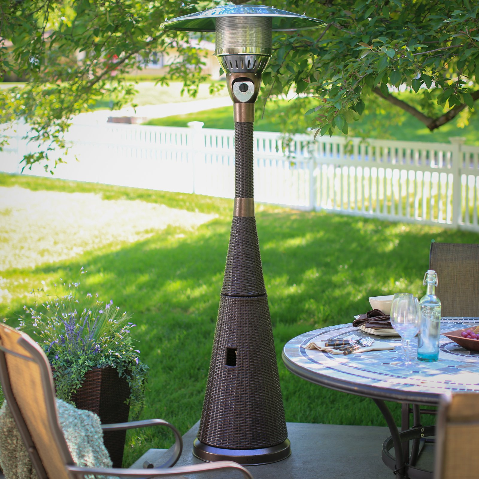 AZ Patio Heater Hiland Mocha Wicker Propane Patio Heater by AZ Patio Heaters