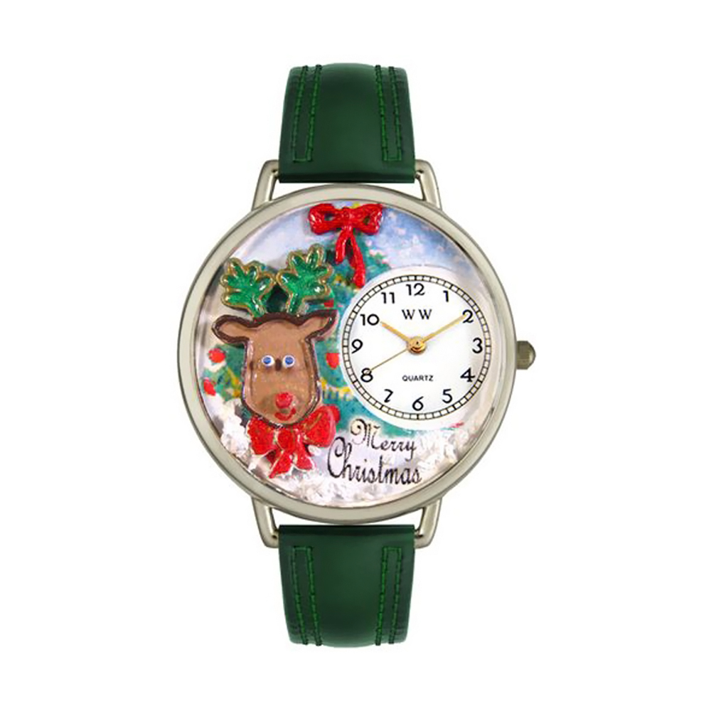 Whimsical Christmas Reindeer Hunter Green Leather And Silvertone Watch