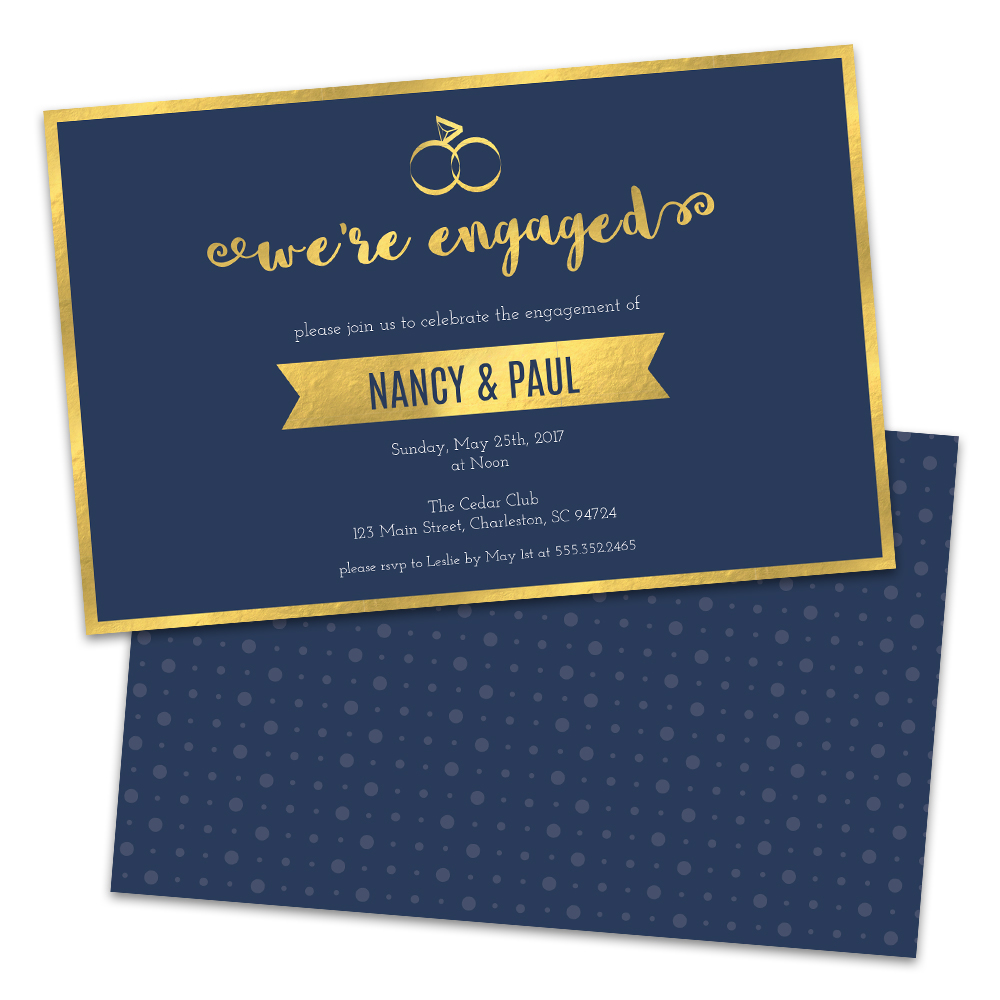 Personalized Golden Rings Engagement Party Invitations