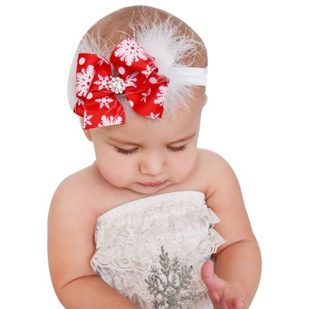 Iuhan Christmas Baby Girls Toddler Bow Feather Headband Snow Flower Girl  Hair Headwear 4a20c4adda06