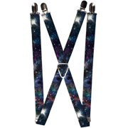 Size one size Elastic Galaxy Collage Print Clip End Suspenders