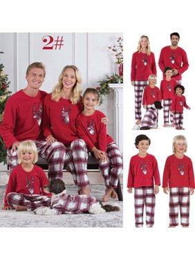 Pudcoco Xmas Family Matching Pajamas Set Women/Men &Kids Sleepwear Nightwear Clothes