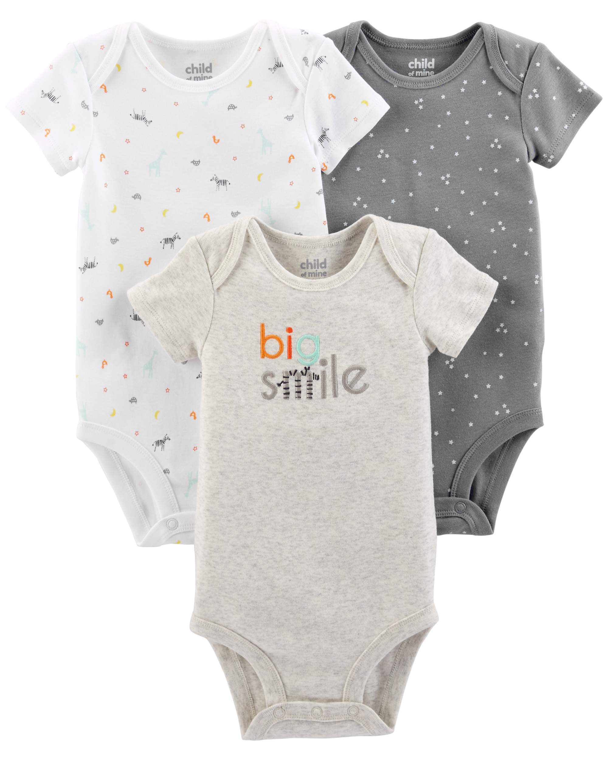 Child Of Mine By Carter's Short Sleeve Bodysuits, 3-pack (Baby Boys or Baby Girls, Unisex)