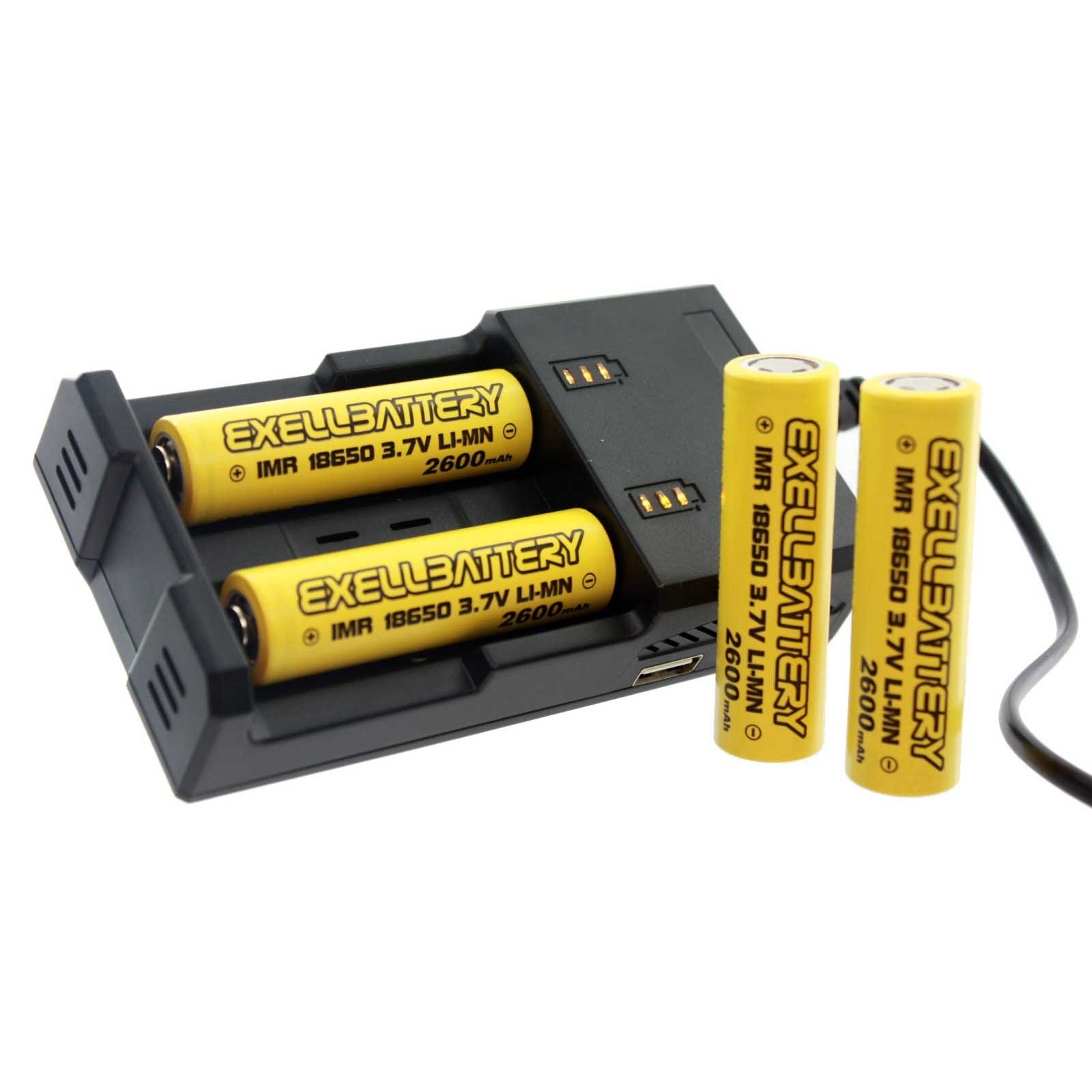 4 Pcs 3.7V 2600mAh Li-Ion 18650 IMR Rechargeable Battery and 2 Slot Charger