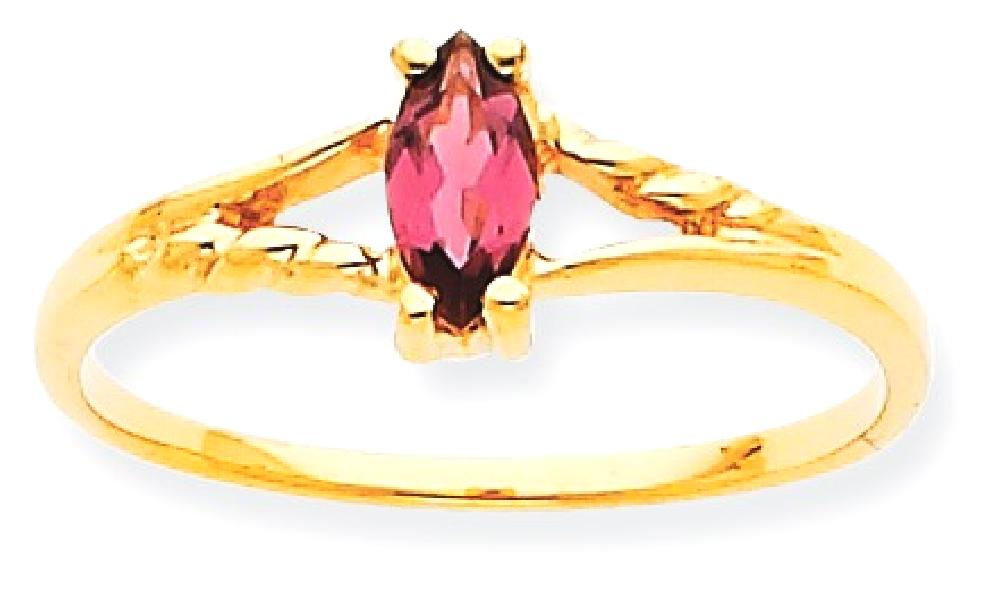 ICE CARATS 10kt Yellow Gold Pink Tourmaline Birthstone Band Ring Size 7.00 Stone October Marquise Fine Jewelry Ideal... by IceCarats Designer Jewelry Gift USA