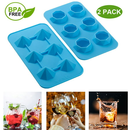 Ice Cube Tray Silicone Flexible 6 Cavity Ice Maker For Whiskey And Cocktails, Keep Drinks Chilled Blue (2pc/Pack) - Halloween Drinks Dry Ice Alcoholic