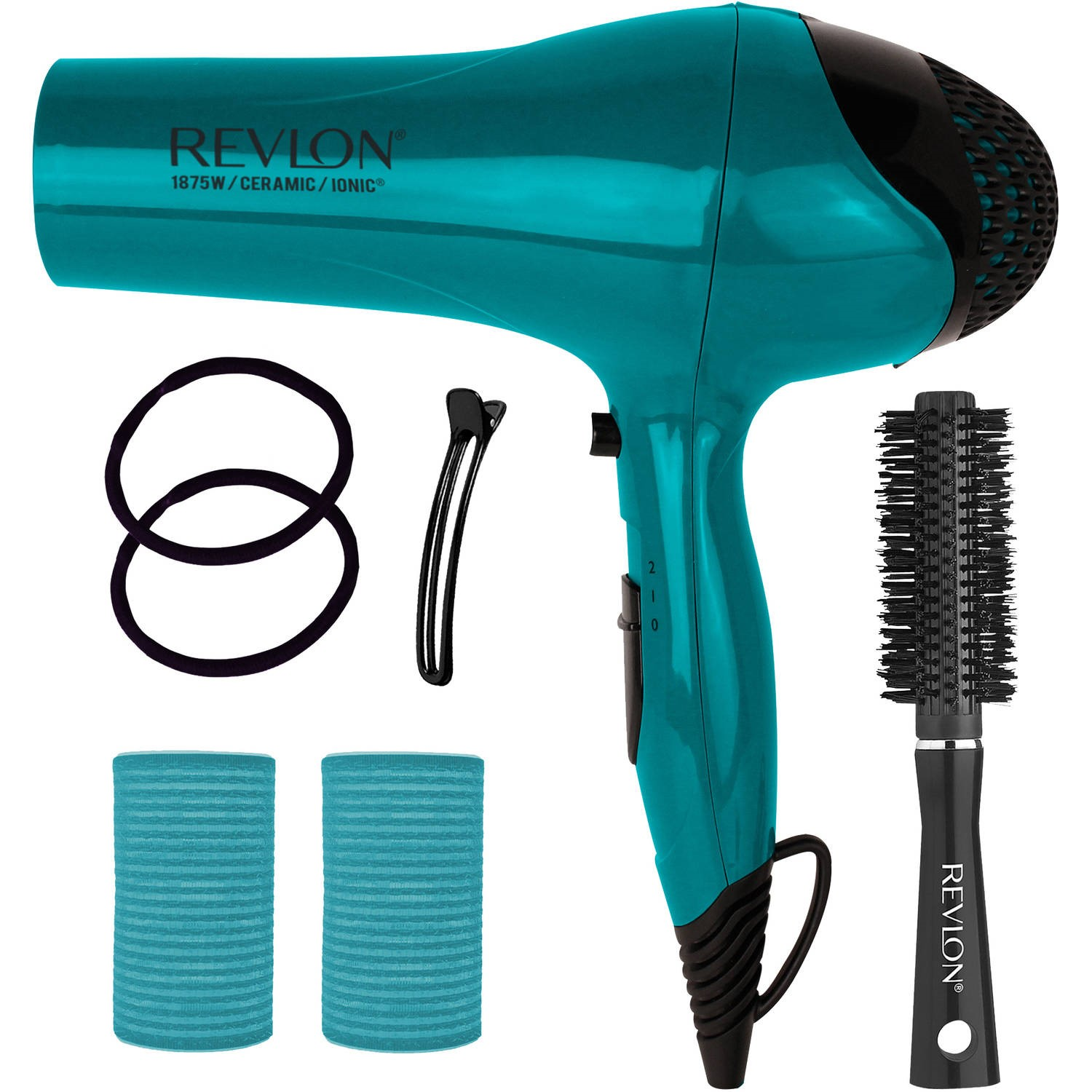 Revlon IONIC Ceramic Hair Dryer Blowout Gift Set, Teal, 7 pc