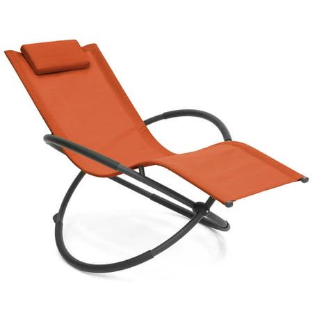 Best Choice Products Folding Orbital Zero Gravity Lounge Chair W Removable Pillow Orange