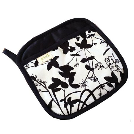 A Greener Kitchen PH004 Organic Cotton Pot Holder - Whispering Grass Black and W