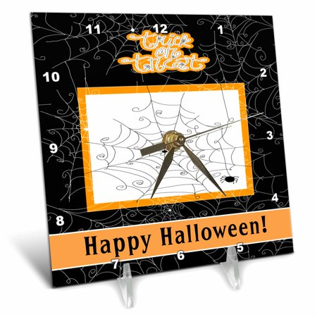 3dRose Spider Web with Spider, Happy Halloween, Trick or Treat, Desk Clock, 6 by 6-inch