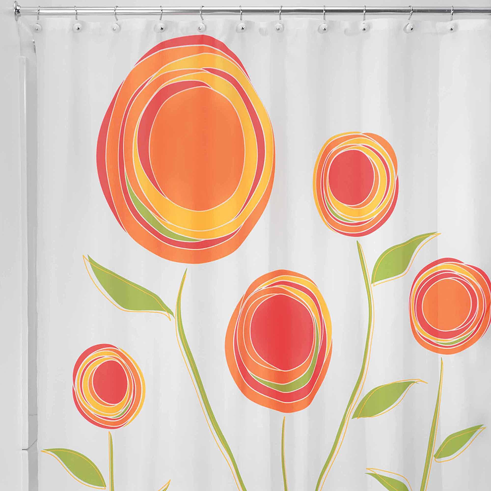 InterDesign Marigold Fabric Shower Curtain Standard 72 X Orange Red