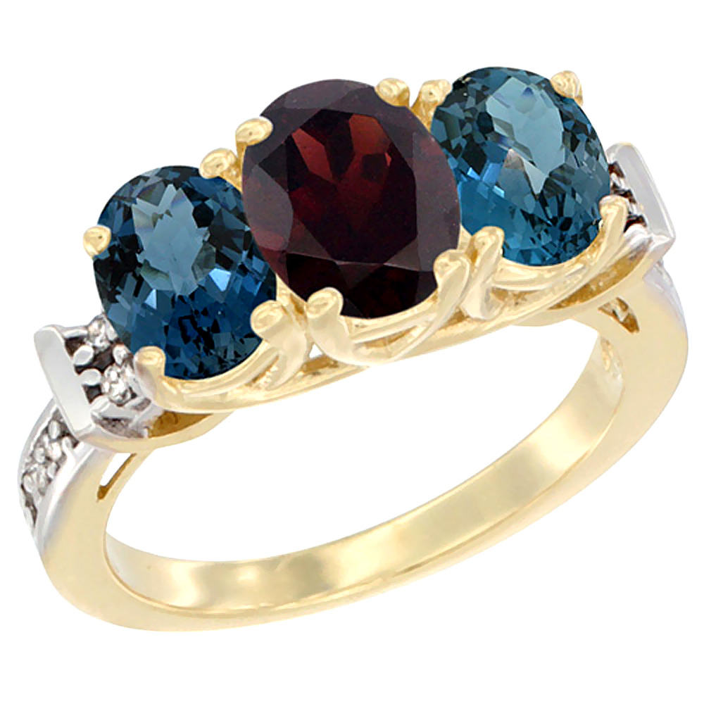 10K Yellow Gold Natural Garnet & London Blue Topaz Sides Ring 3-Stone Oval Diamond Accent, sizes 5 10 by WorldJewels