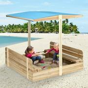 KINGSO Kids Sandbox with Cover Wooden Outdoor Sandbox with Canopy, with 2 Bench Seats, Sandbox with Canopy for Backyard Home Garden Beach