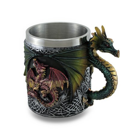 - Gothic Dragon Tankard Celtic Knot work Mug w/Stainless Steel Insert