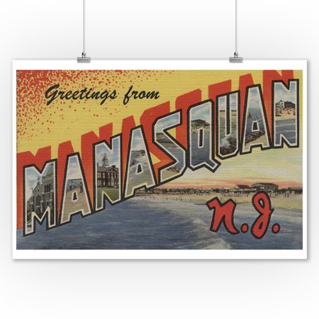 Jersey Letter - Manasquan, New Jersey - Large Letter Scenes (9x12 Art Print, Wall Decor Travel Poster)