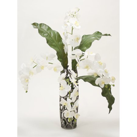 Distinctive Designs Orchid with Honeycomb Silk Flower in Weave Vase