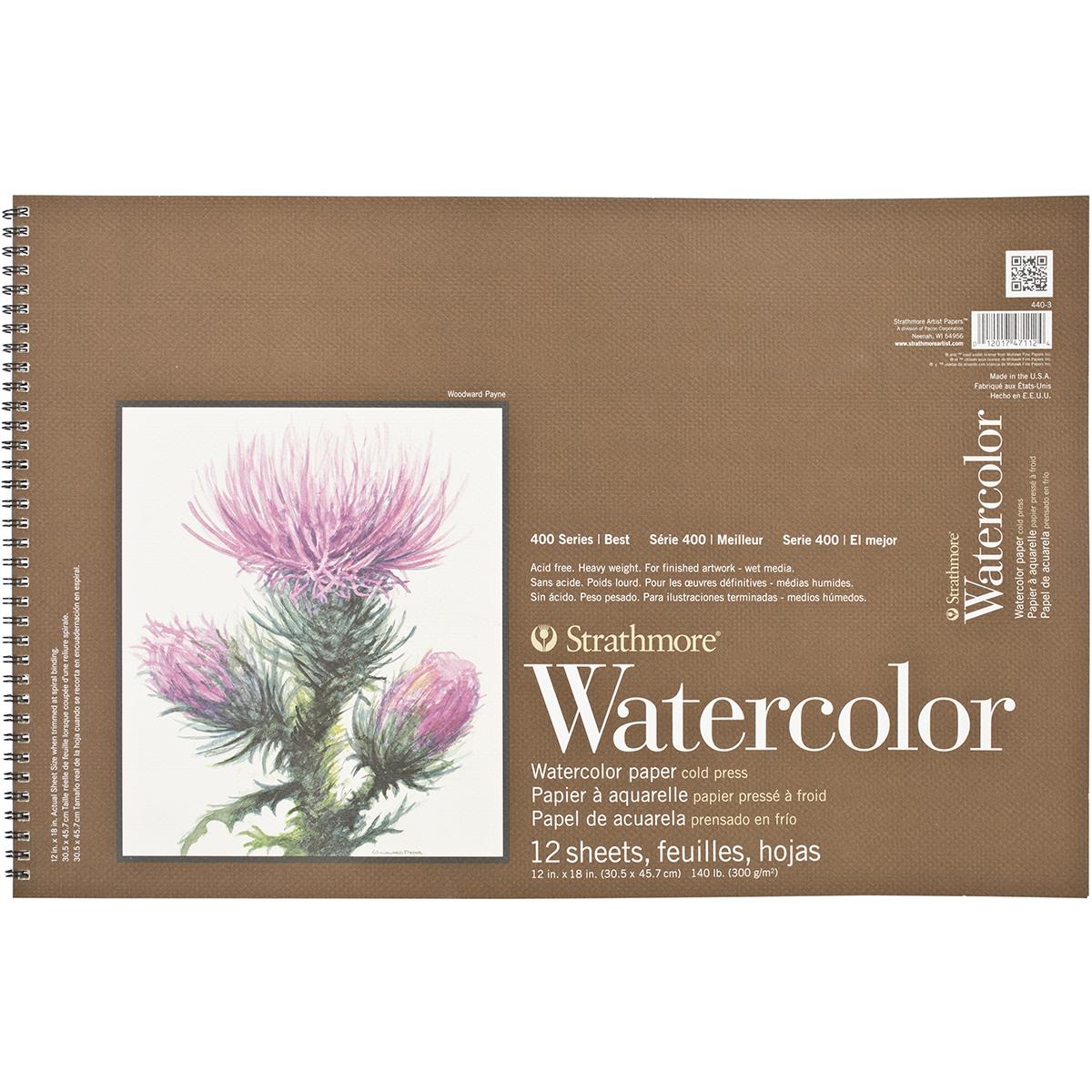 "Strathmore 12"" x 18"" Cold Press Wire Bound Watercolor Pad"