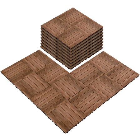 12 x 12''(11 PCS)Patio Pavers Interlocking Wood Tiles Wood Flooring Tiles Indoor & Outdoor For Patio Garden Deck Poolside ()