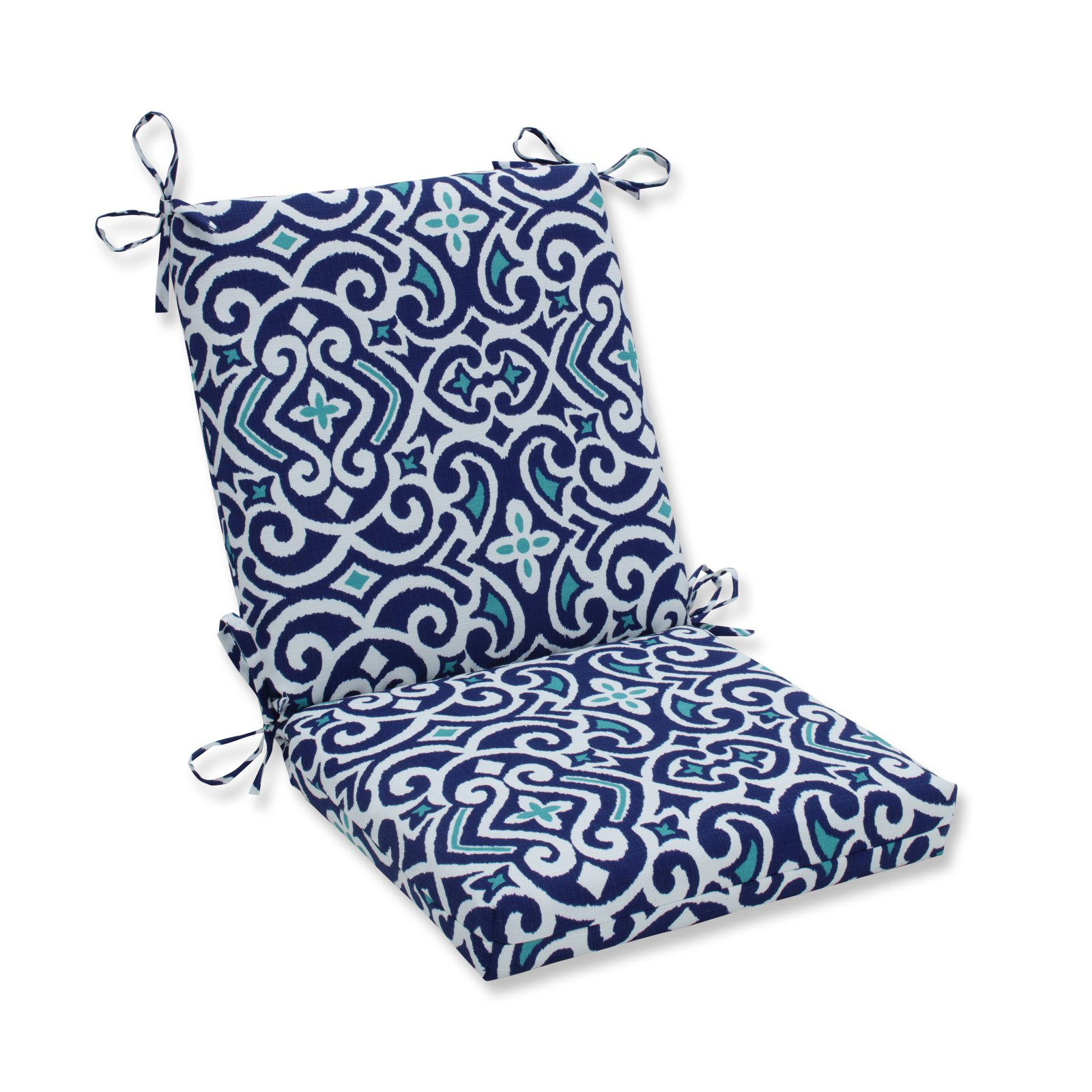 Pillow Perfect Outdoor/Indoor New Damask Marine Squared Corners Chair Cushion