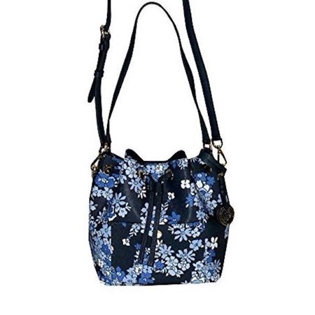 NEW MICHAEL KORS GREENWICH MEDIUM NAVY BLUE FLORAL SAFFIANO LEATHER BUCKET BAG Blue Leather World Series