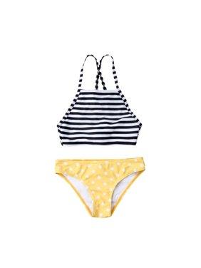 cdaf5131140 Product Image Mommy&Me Striped Print Two Piece Bathing Suit Family Matching  Halter Neck Swimsuit Set Swimwear Bikini