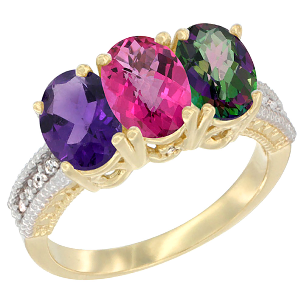 10K Yellow Gold Diamond Natural Amethyst, Pink Topaz & Mystic Topaz Ring Oval 3-Stone 7x5 mm,sizes 5-10 by WorldJewels