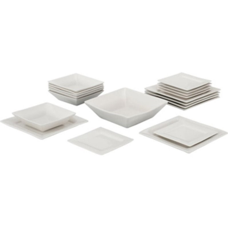 10 Strawberry Street Nova 19 Piece Square Dinnerware Set in White by 10 Strawberry Street