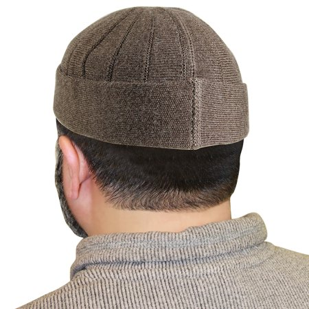 d02d48af434e3 Hijaz - Brown Muslim Mens Prayer Kufi Hat Beanie with Vertical Seams -  Walmart.com