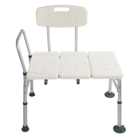 Tub Transfer Bench Bar Lightweight Bath Shower Chair with Back Non-Slip Seat, Bathtub Transfer Bench for Elderly and Disabled, Adjustable Height