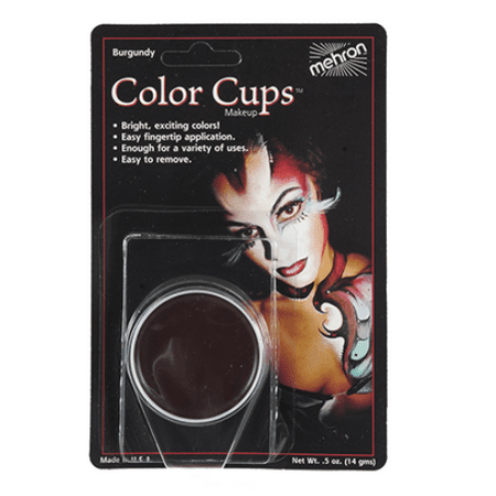 LWS LA Wholesale Store  Mehron Color Cup Foundation Creme Clown Makeup Various Color Halloween Mardigras (Burgundy-BY) - Halloween Store Nyc