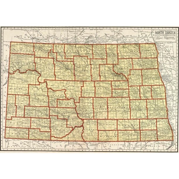 North Dakota 1911 State Map Road Bismarck Fargo 12 Inch By 18 Inch Laminated Poster With Bright Colors And Vivid Imagery Fits Perfectly In Many Attractive Frames Walmart Com Walmart Com