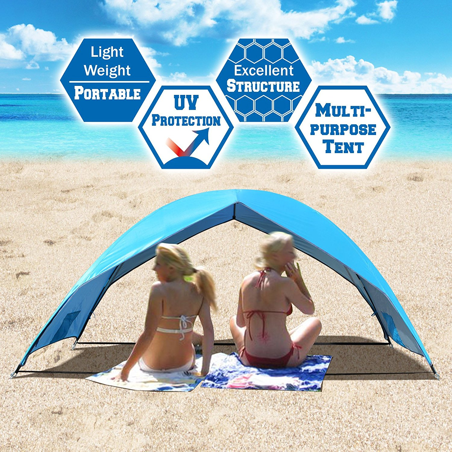 Strong Camel Portable Beach Tent Sun Shade Shelter Outdoor Hiking Travel Camping Napping Canopy 2 Persons
