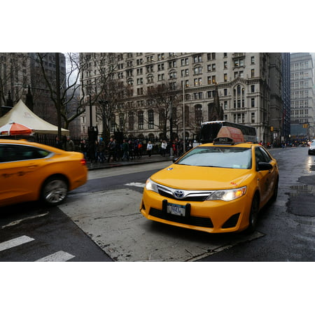 Poster New York Taxi.Peel N Stick Poster Of Yellow New York Taxi Poster 24x16 Adhesive