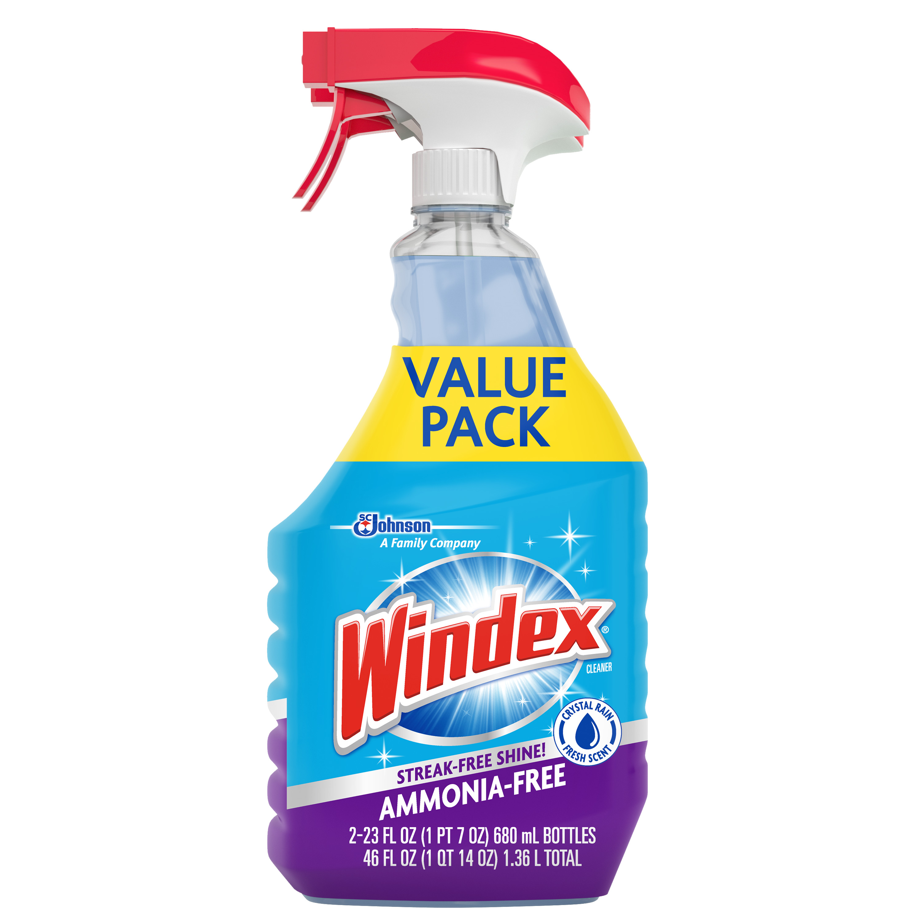 Windex Ammonia-Free Glass Cleaner Trigger Bottle, Crystal Rain, 23 fl oz (2 ct)