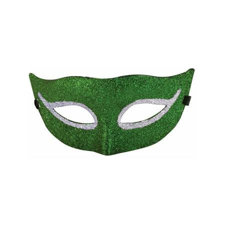 Green Glitter Style Venetian Mardi Gras Half Mask Costume Accessory