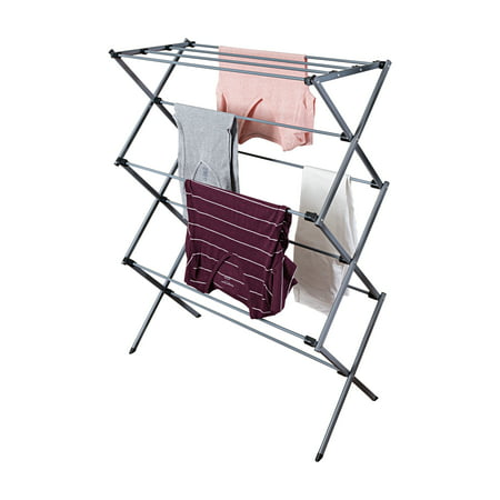 Mainstays Deluxe Folding Metal Accordion Drying Rack, Silver (Outside Clothing Drying Racks)