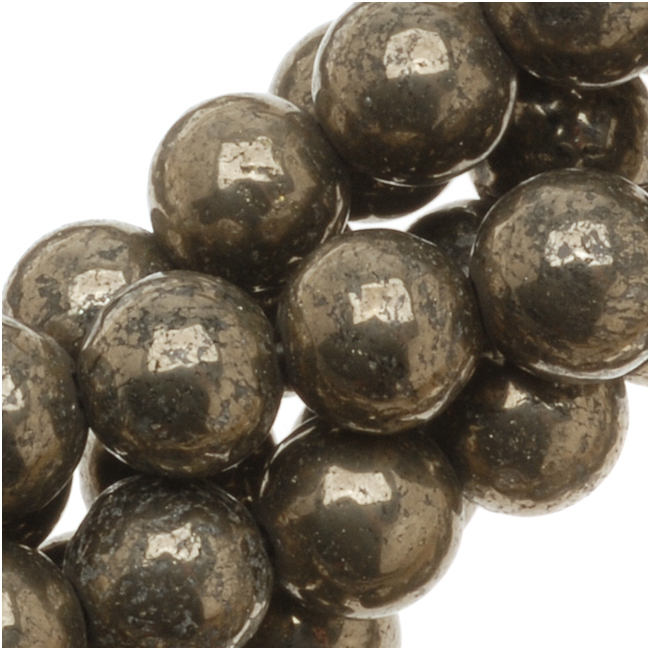 Pyrite Fool's Gold 6mm Round Beads -15.5 Inch Strand