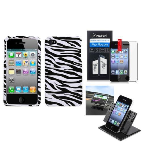Insten Film+Holder+Zebra Skin Phone Case Cover For APPLE iPhone 4S/4