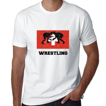 Switzerland Olympic - Wrestling - Flag - Silhouette Men's - Swiss Flag T-shirt