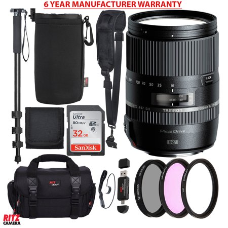 Tamron Macro 16 300Mm F 3 5 6 3 Di Ii Vc Pzd For Canon Cameras  Sandisk Ultra Sdhc 32Gb  Slr Camera Bag  Camera Shoulder Strap  Protective Lens Pouch  72   Monopod  Filter Kit Set  And Accessory Bundle