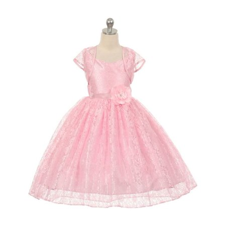 Chic Baby Little Girls Pink Lace Hi-Low Special Occasion Jacket Dress 2 (Pink Little Girl Dresses)