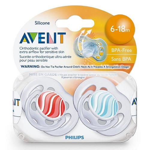 Philips Avent BPA Free Freeflow Pacifiers 6-18 Months, Assorted Colors 2 ea (Pack of 3)