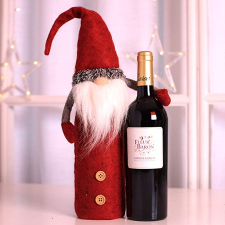 Christmas Wine Bottle Cover, Handmade Wine Bottle Toppers Santa Claus Bottle Bags with Drawstring Style Holiday Home Christmas Decorations Gift 3 Pack - image 7 de 10