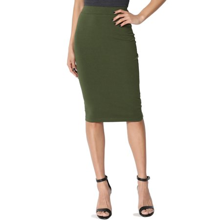Poplin Stretch Skirt (TheMogan Women's S~3X Elastic High Waist Stretch Cotton Knee Pencil Midi)