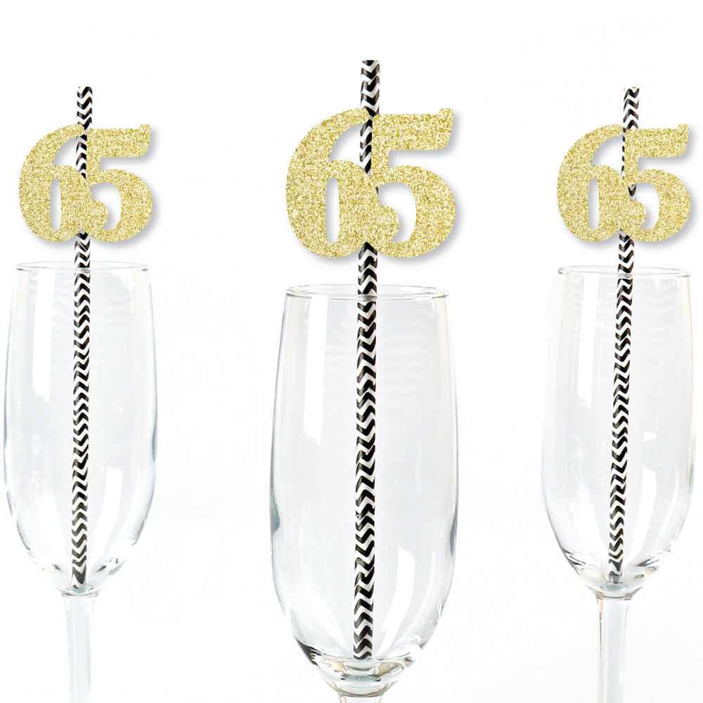 Gold Glitter 65 Party Straws - No-Mess Real Gold Glitter Cut-Out Numbers & Decorative 65th Birthday Paper Straws - 24 Ct