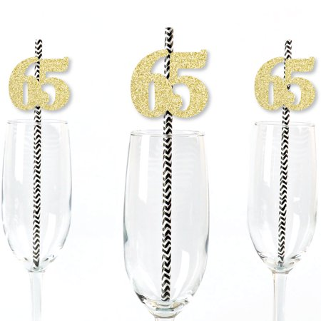 Gold Glitter 65 Party Straws - No-Mess Real Gold Glitter Cut-Out Numbers & Decorative 65th Birthday Paper Straws - 24 Ct - 65th Birthday Party Ideas